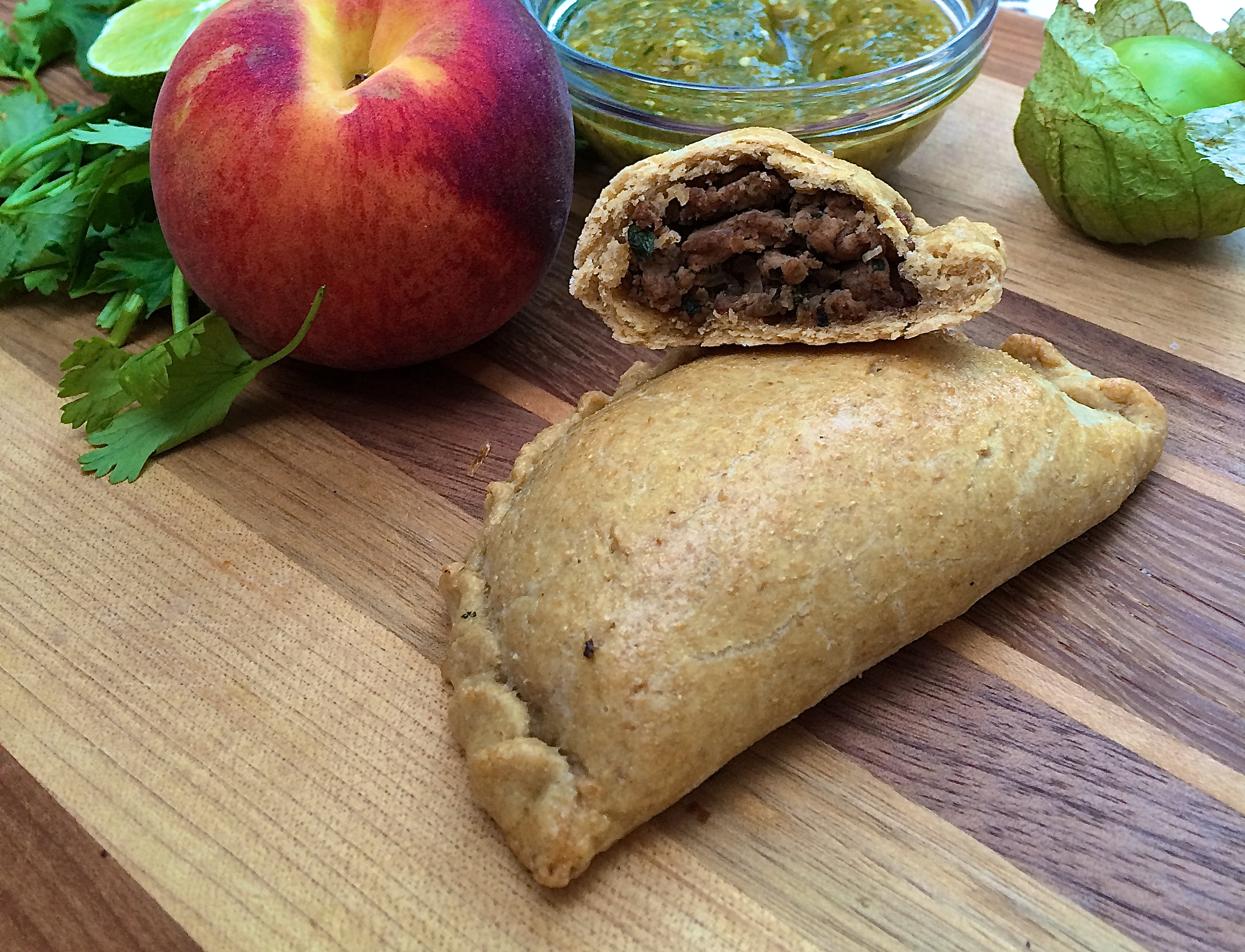 Chipotle Empanadas with Grilled Peach Salsa Verde | The Hungry ...