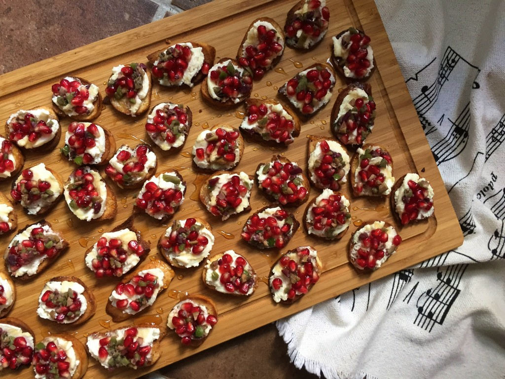 Ricotta Toasts with Pomegranate Olive Relish |
