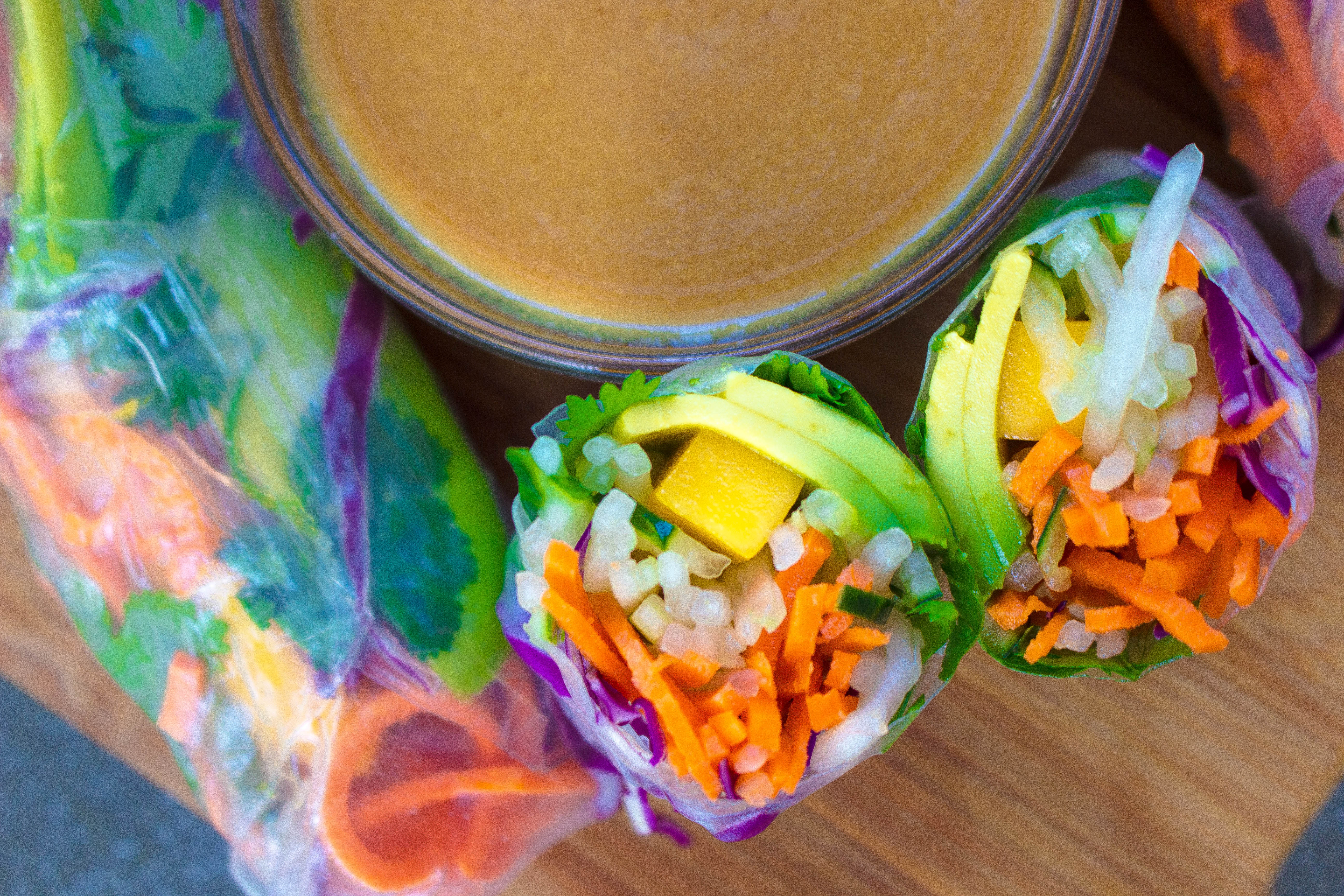 Mango Avocado Summer Rolls with Miso Sesame Ginger Sauce ...